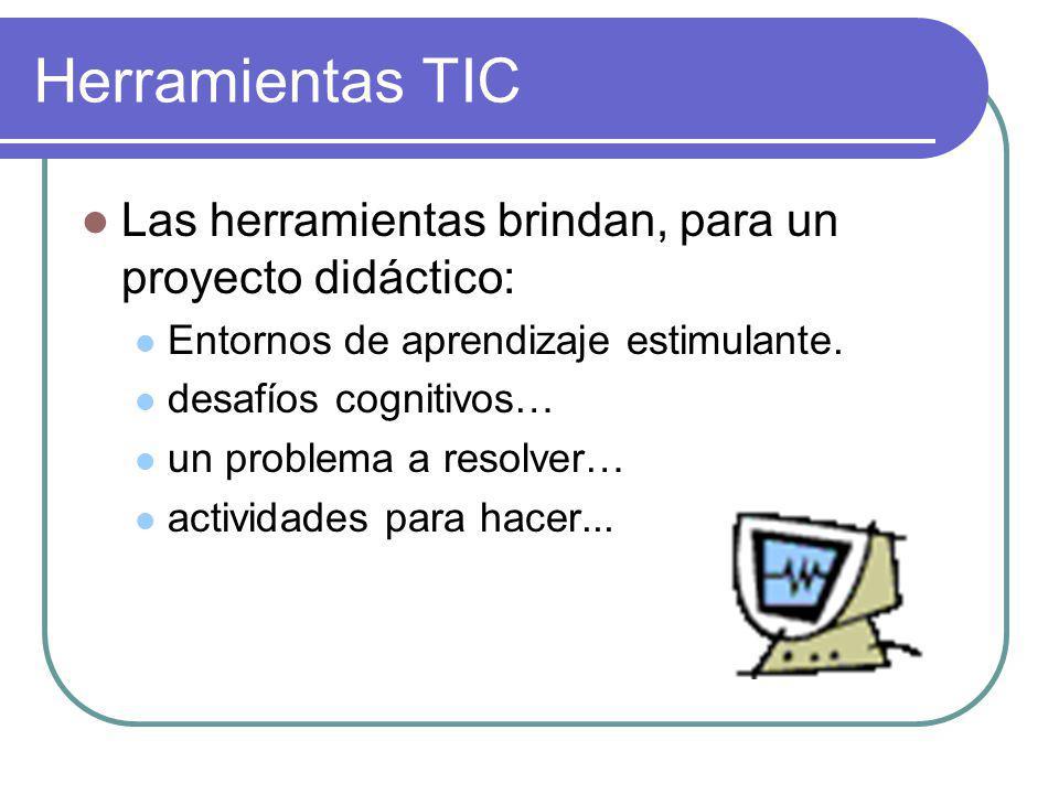 Herramientas TIC Las herramientas brindan, para un proyecto didáctico: Entornos de aprendizaje estimulante.
