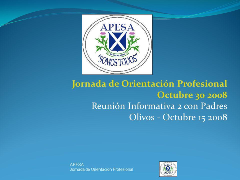 Jornada de Orientación Profesional Octubre 30 2008 Reunión Informativa 2 con Padres Olivos - Octubre 15 2008 APESA Jornada de Orientacion Profesional