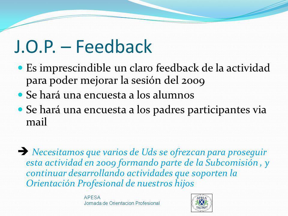 J.O.P. – Feedback Es imprescindible un claro feedback de la actividad para poder mejorar la sesión del 2009 Se hará una encuesta a los alumnos Se hará