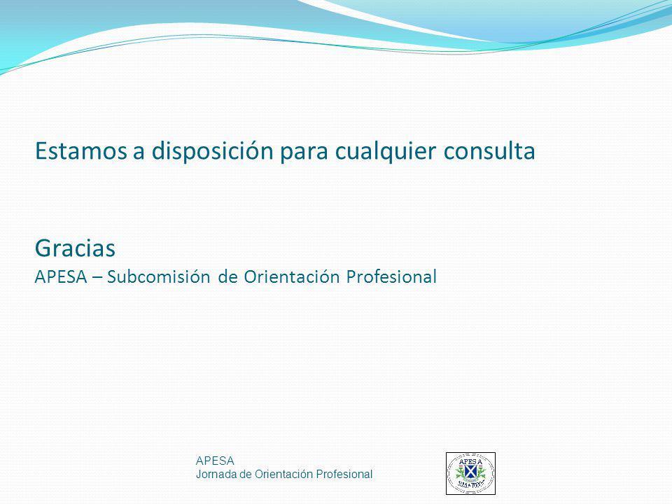 Estamos a disposición para cualquier consulta Gracias APESA – Subcomisión de Orientación Profesional APESA Jornada de Orientación Profesional