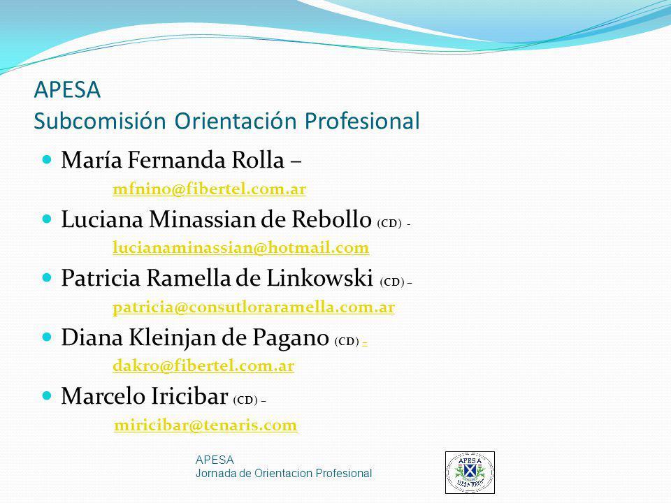 APESA Subcomisión Orientación Profesional María Fernanda Rolla – mfnino@fibertel.com.ar Luciana Minassian de Rebollo (CD) - lucianaminassian@hotmail.c