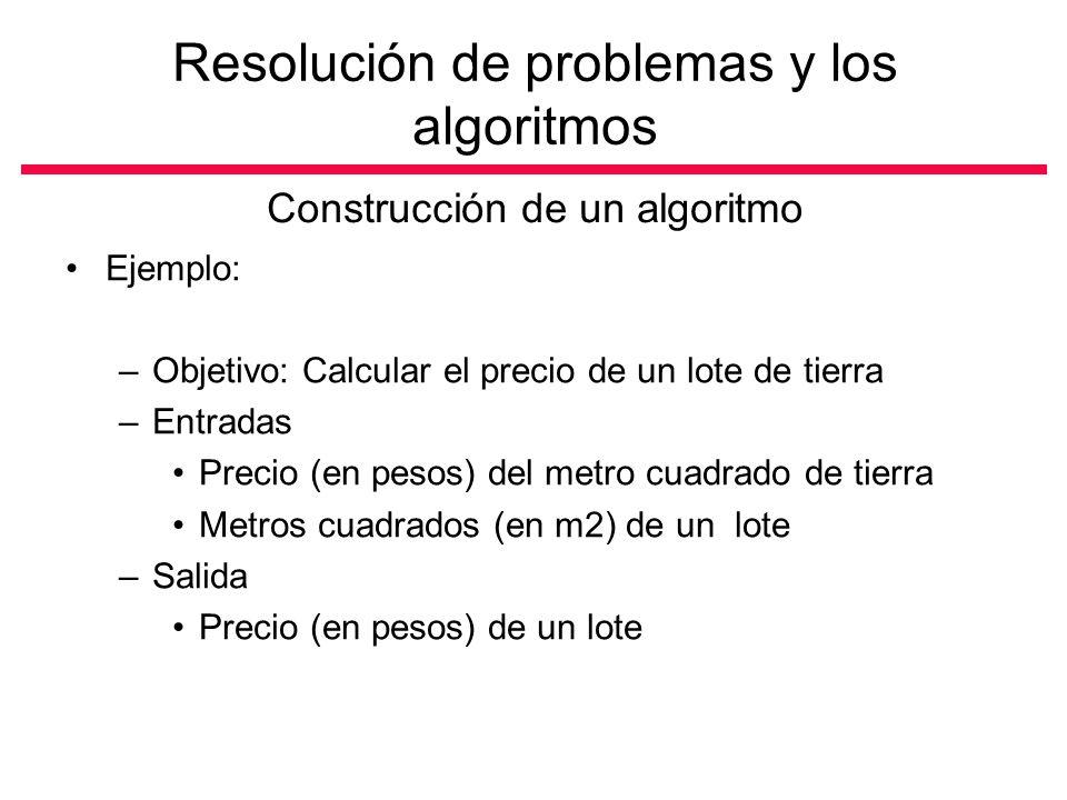 Construcción de un algoritmo Ejemplo: –Objetivo: Calcular el precio de un lote de tierra –Entradas Precio (en pesos) del metro cuadrado de tierra Metros cuadrados (en m2) de un lote –Salida Precio (en pesos) de un lote Resolución de problemas y los algoritmos