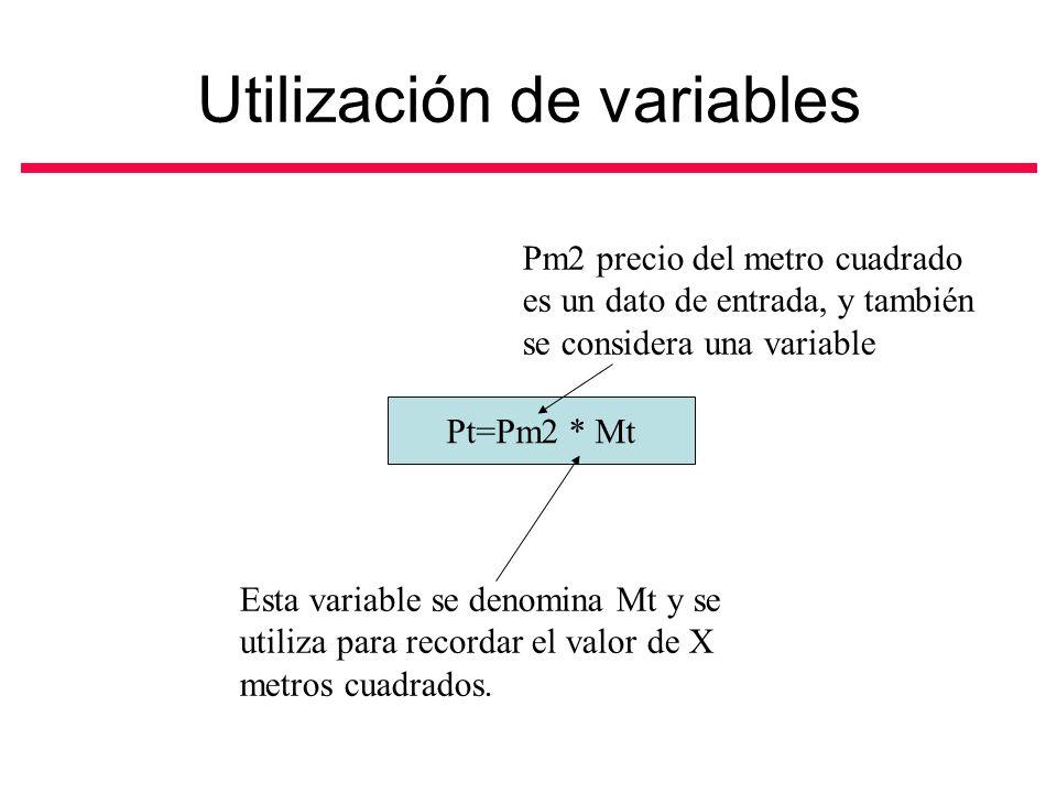 Utilización de variables Pt=Pm2 * Mt Esta variable se denomina Mt y se utiliza para recordar el valor de X metros cuadrados.