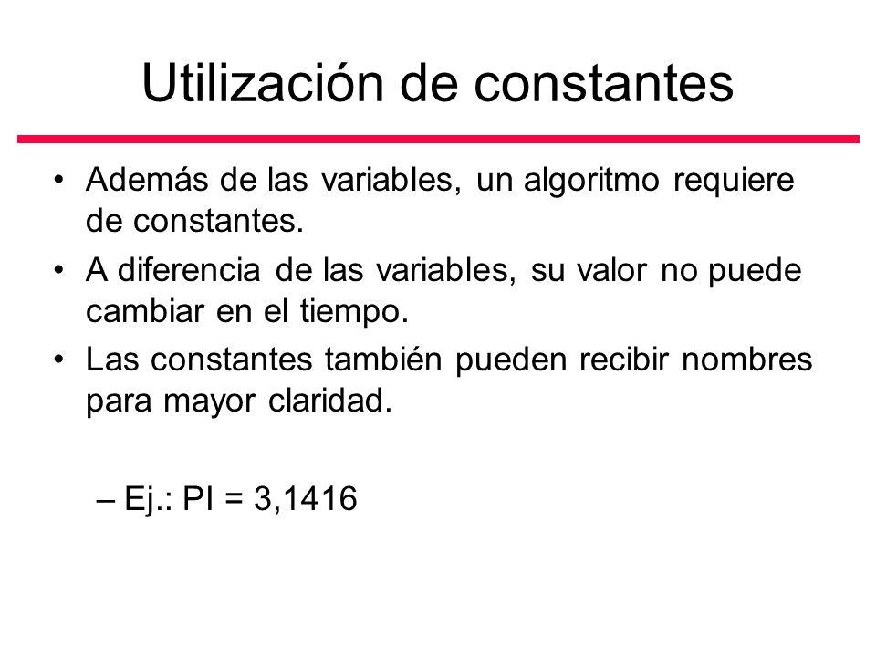 Utilización de constantes Además de las variables, un algoritmo requiere de constantes.