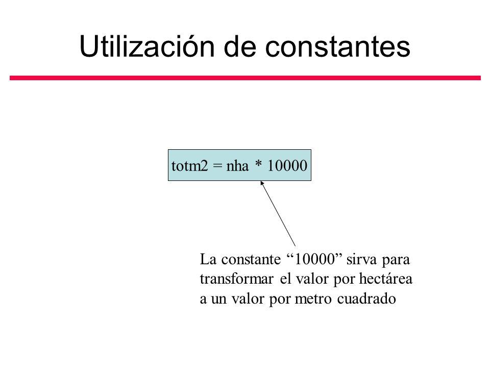 Utilización de constantes totm2 = nha * 10000 La constante 10000 sirva para transformar el valor por hectárea a un valor por metro cuadrado