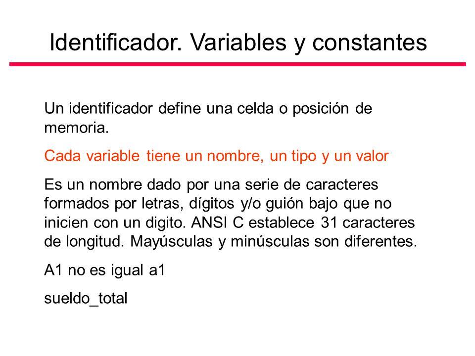 Identificador.Variables y constantes Un identificador define una celda o posición de memoria.