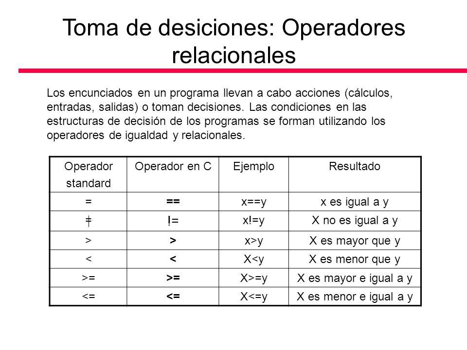 Toma de desiciones: Operadores lógicos Son operadores que permiten formular condiciones complejas a partir de condiciones simples.