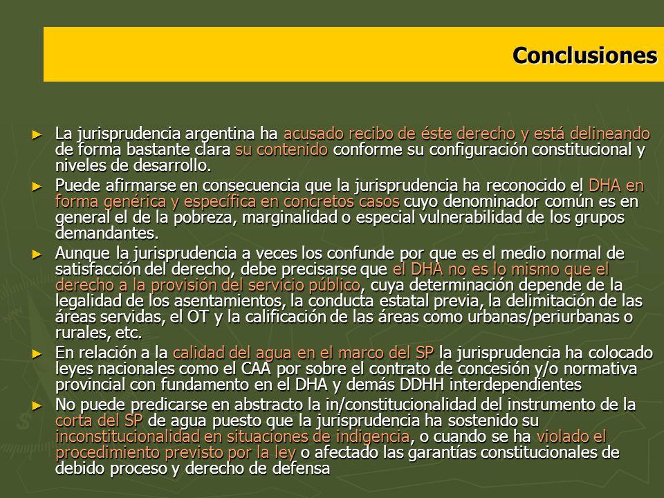 Conclusiones La jurisprudencia argentina ha acusado recibo de éste derecho y está delineando de forma bastante clara su contenido conforme su configur