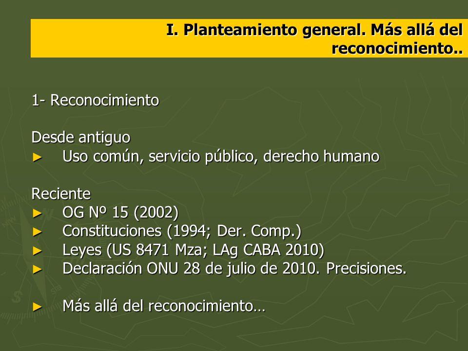I. Planteamiento general. Más allá del reconocimiento.. 1- Reconocimiento Desde antiguo Uso común, servicio público, derecho humano Uso común, servici