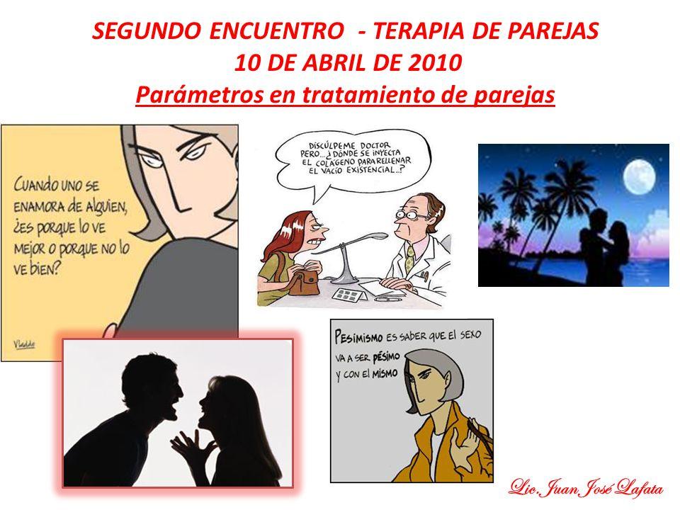 SEGUNDO ENCUENTRO - TERAPIA DE PAREJAS 10 DE ABRIL DE 2010 Parámetros en tratamiento de parejas Lic.Juan José Lafata