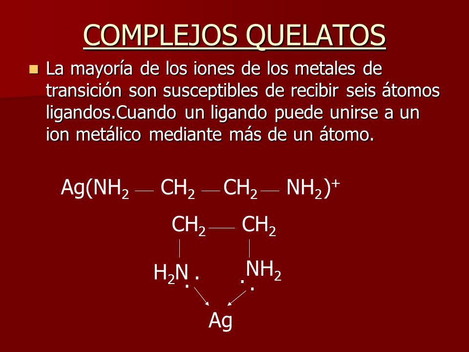 COMPLEJOS QUELATOS La mayoría de los iones de los metales de transición son susceptibles de recibir seis átomos ligandos.Cuando un ligando puede unirs