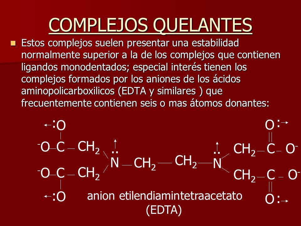 COMPLEJOS QUELANTES Estos complejos suelen presentar una estabilidad normalmente superior a la de los complejos que contienen ligandos monodentados; e