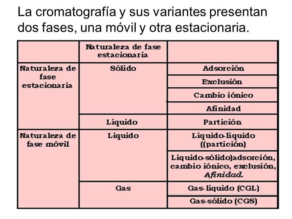 La cromatografía y sus variantes presentan dos fases, una móvil y otra estacionaria.