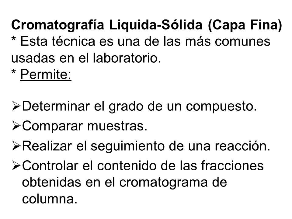 Cromatografía Liquida-Sólida (Capa Fina) * Esta técnica es una de las más comunes usadas en el laboratorio. * Permite: Determinar el grado de un compu