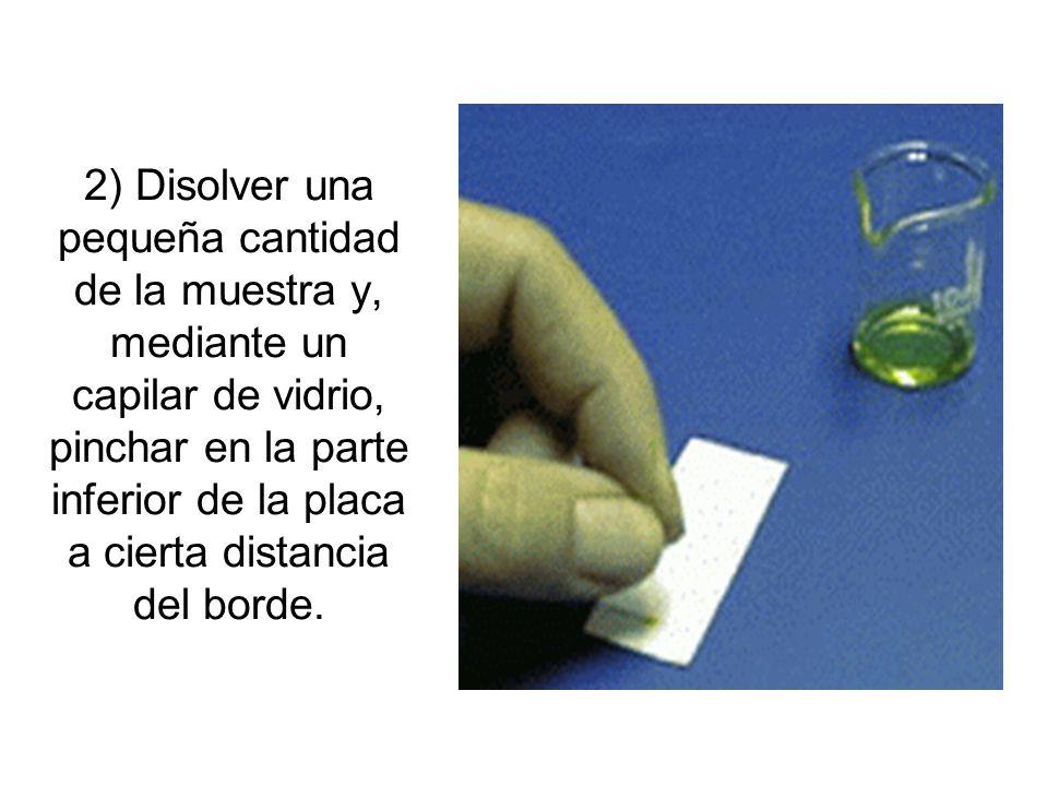 2) Disolver una pequeña cantidad de la muestra y, mediante un capilar de vidrio, pinchar en la parte inferior de la placa a cierta distancia del borde
