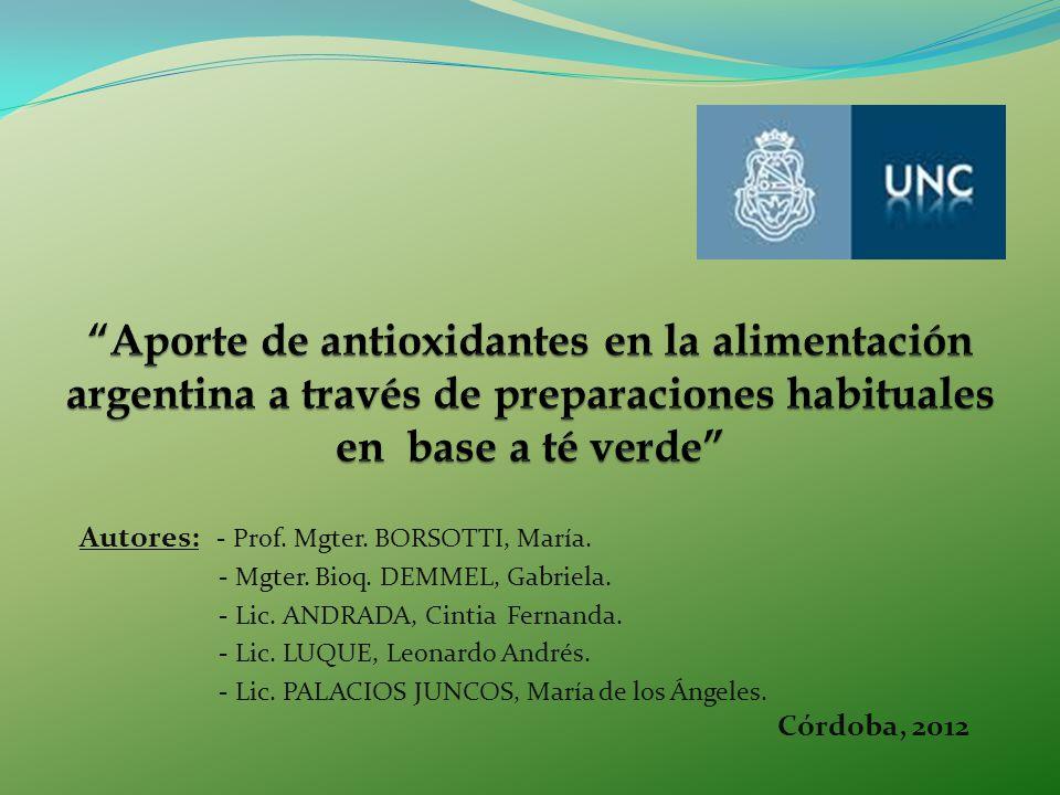 Autores: - Prof. Mgter. BORSOTTI, María. - Mgter. Bioq. DEMMEL, Gabriela. - Lic. ANDRADA, Cintia Fernanda. - Lic. LUQUE, Leonardo Andrés. - Lic. PALAC