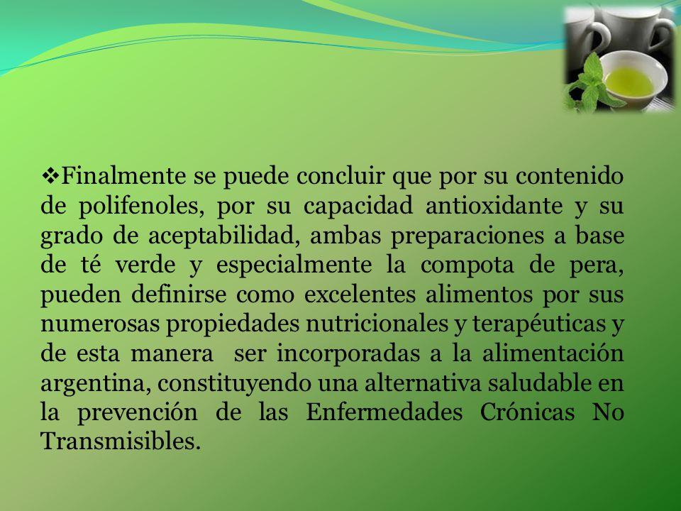 Finalmente se puede concluir que por su contenido de polifenoles, por su capacidad antioxidante y su grado de aceptabilidad, ambas preparaciones a bas
