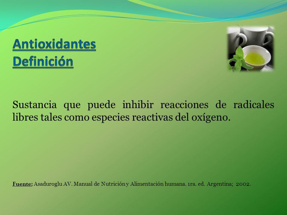 Sustancia que puede inhibir reacciones de radicales libres tales como especies reactivas del oxígeno. Fuente: Asaduroglu AV. Manual de Nutrición y Ali