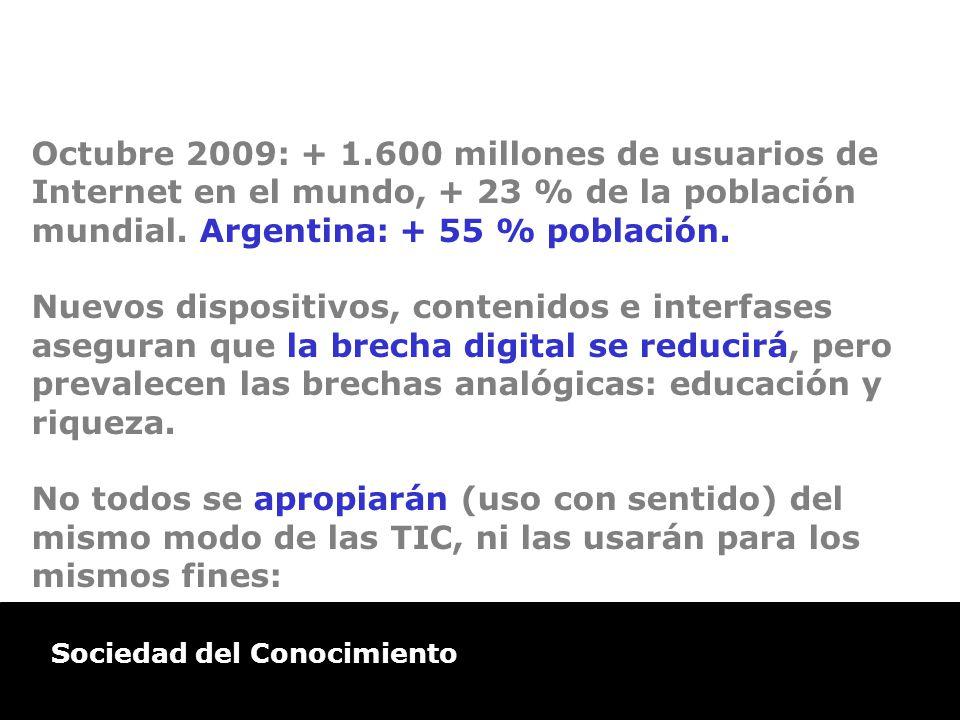 Sociedad del Conocimiento Octubre 2009: + 1.600 millones de usuarios de Internet en el mundo, + 23 % de la población mundial. Argentina: + 55 % poblac