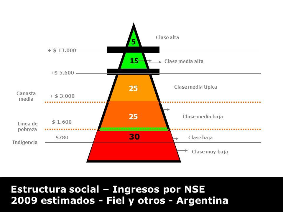 $2.200 * 2 15 30 Indigencia Clase alta 25 Clase media alta Clase media típica Clase media baja Clase muy baja + $ 13.000 +$ 5.600 Línea de pobreza Canasta media 5 + $ 3.000 $ 1.600 $780 30 Estructura social – Ingresos por NSE 2009 estimados - Fiel y otros - Argentina Clase baja