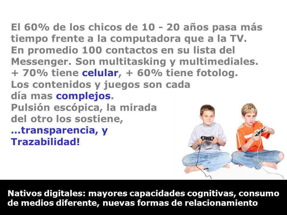 Nativos digitales: mayores capacidades cognitivas, consumo de medios diferente, nuevas formas de relacionamiento El 60% de los chicos de 10 - 20 años pasa más tiempo frente a la computadora que a la TV.