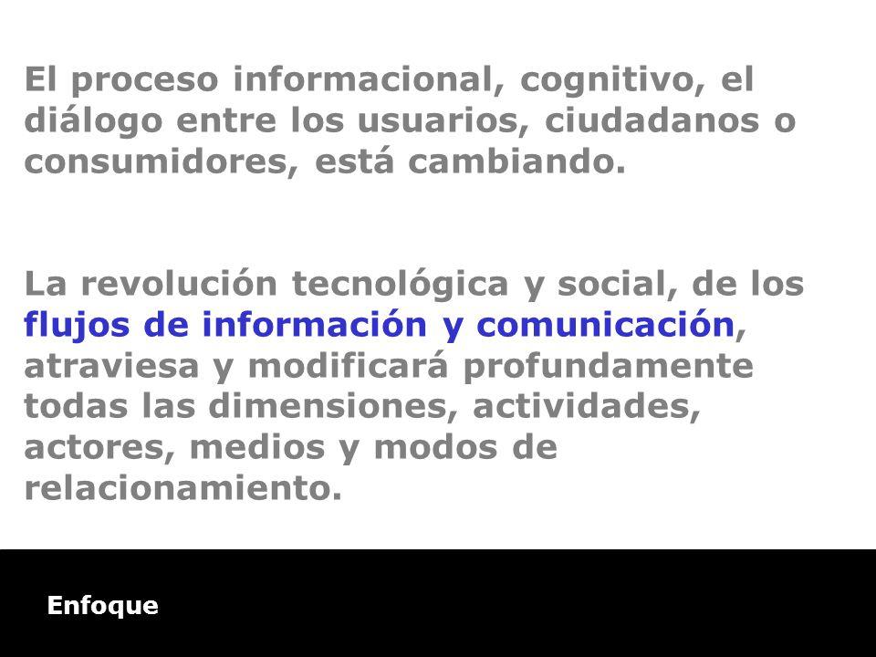 Enfoque El proceso informacional, cognitivo, el diálogo entre los usuarios, ciudadanos o consumidores, está cambiando. La revolución tecnológica y soc