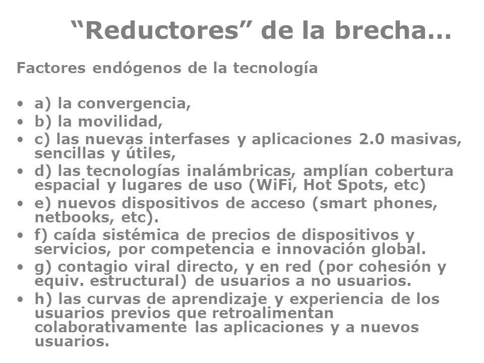Reductores de la brecha… Factores endógenos de la tecnología a) la convergencia, b) la movilidad, c) las nuevas interfases y aplicaciones 2.0 masivas,