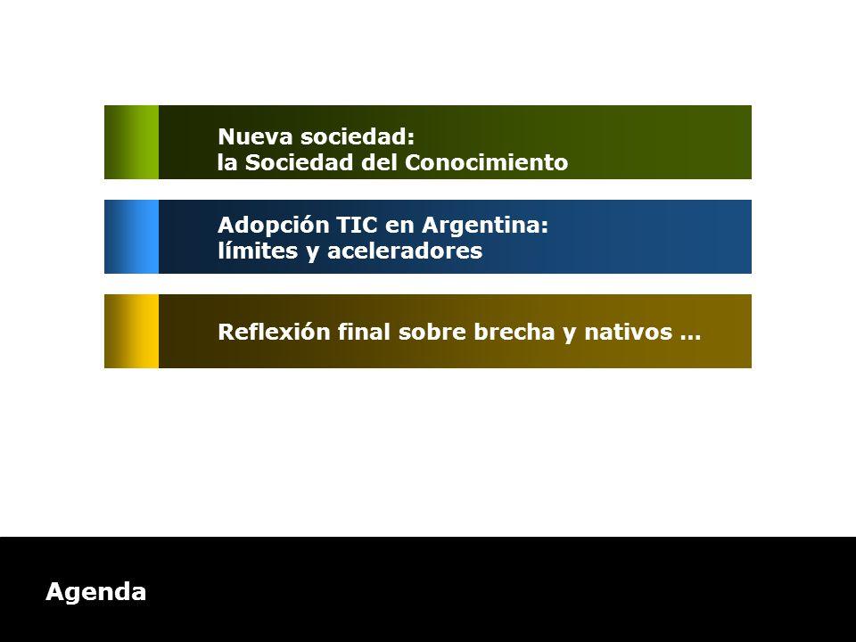 Agenda Adopción TIC en Argentina: límites y aceleradores Reflexión final sobre brecha y nativos … Nueva sociedad: la Sociedad del Conocimiento