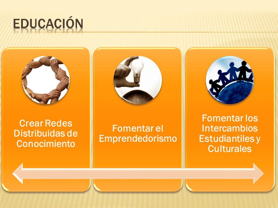 Crear Redes Distribuidas de Conocimiento Fomentar el Emprendedorismo Fomentar los Intercambios Estudiantiles y Culturales