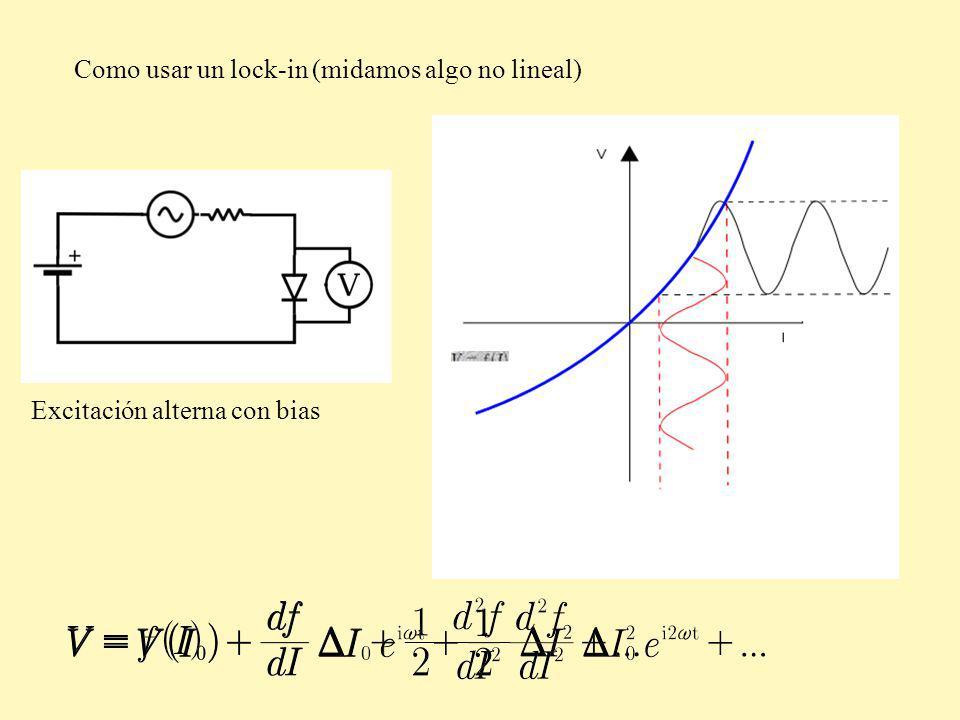 Como usar un lock-in (midamos algo no lineal) Excitación alterna con bias