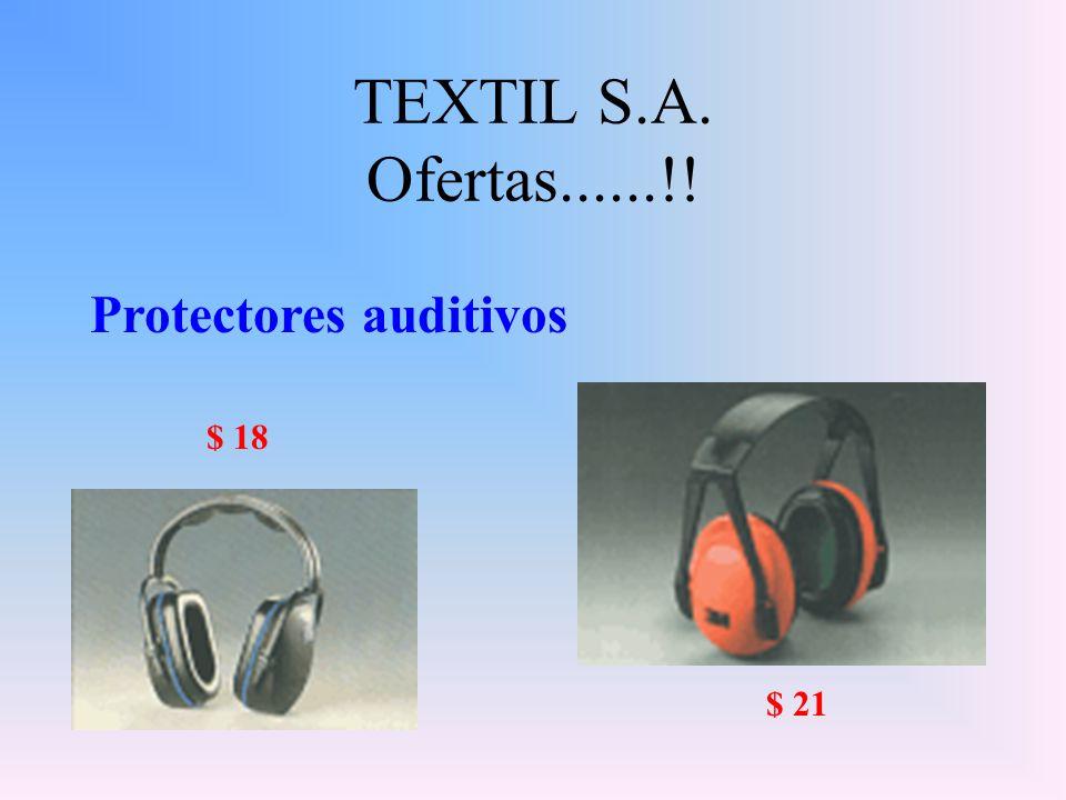TEXTIL S.A. Ofertas......!! Protectores auditivos $ 18 $ 21