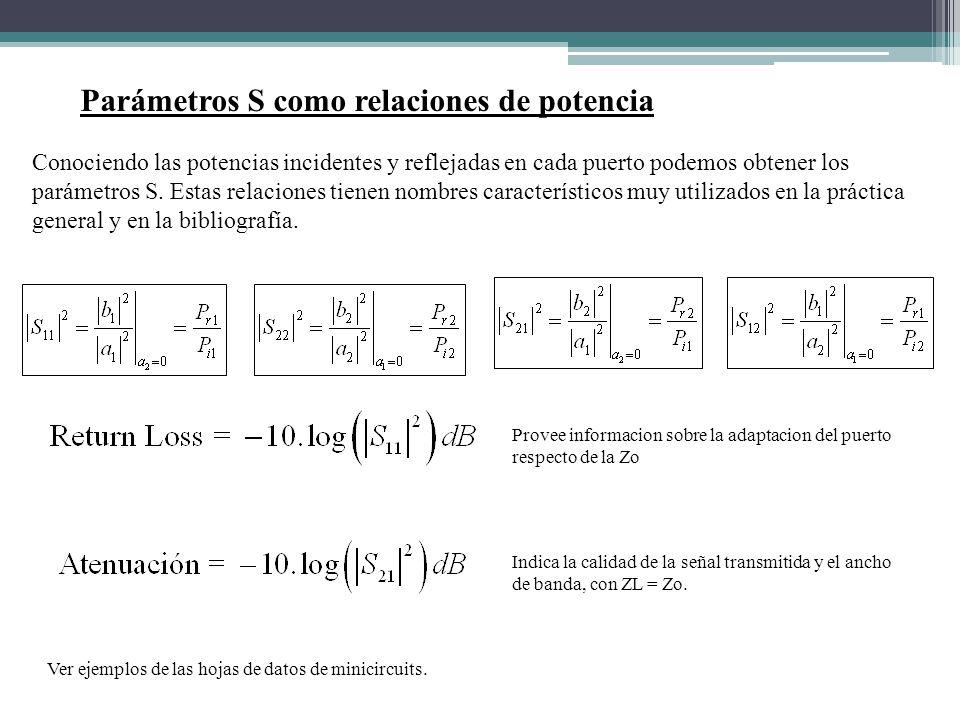 Parámetros S como relaciones de potencia Conociendo las potencias incidentes y reflejadas en cada puerto podemos obtener los parámetros S. Estas relac