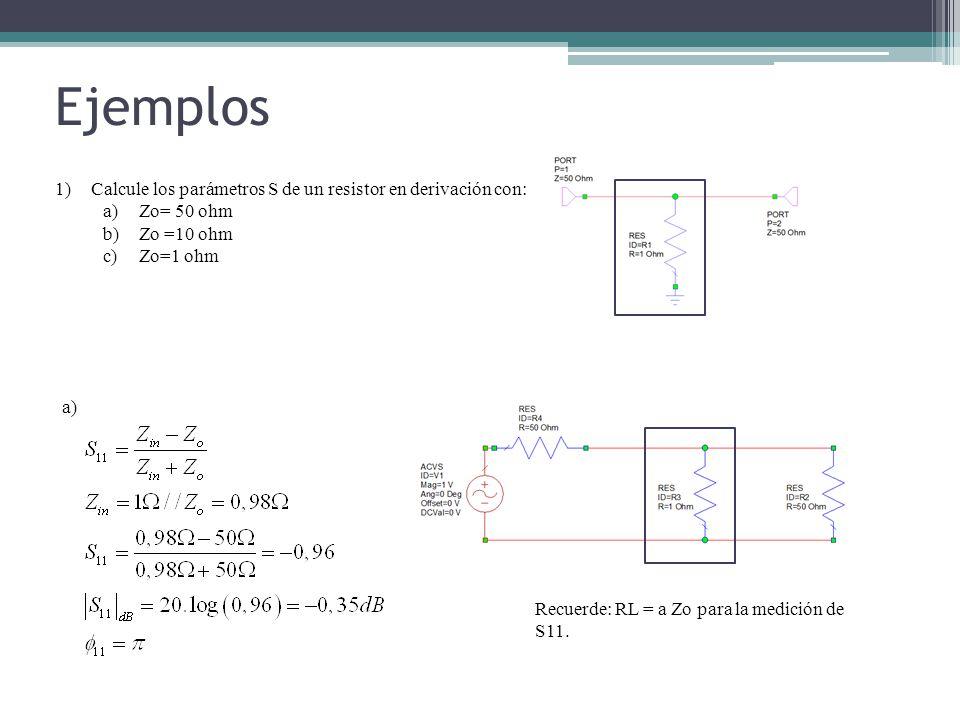 Ejemplos 1)Calcule los parámetros S de un resistor en derivación con: a)Zo= 50 ohm b)Zo =10 ohm c)Zo=1 ohm a) Recuerde: RL = a Zo para la medición de