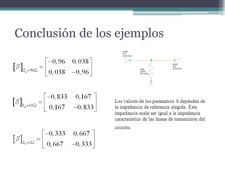 Conclusión de los ejemplos Los valores de los parámetros S dependen de la impedancia de referencia elegida. Ésta impedancia suele ser igual a la imped
