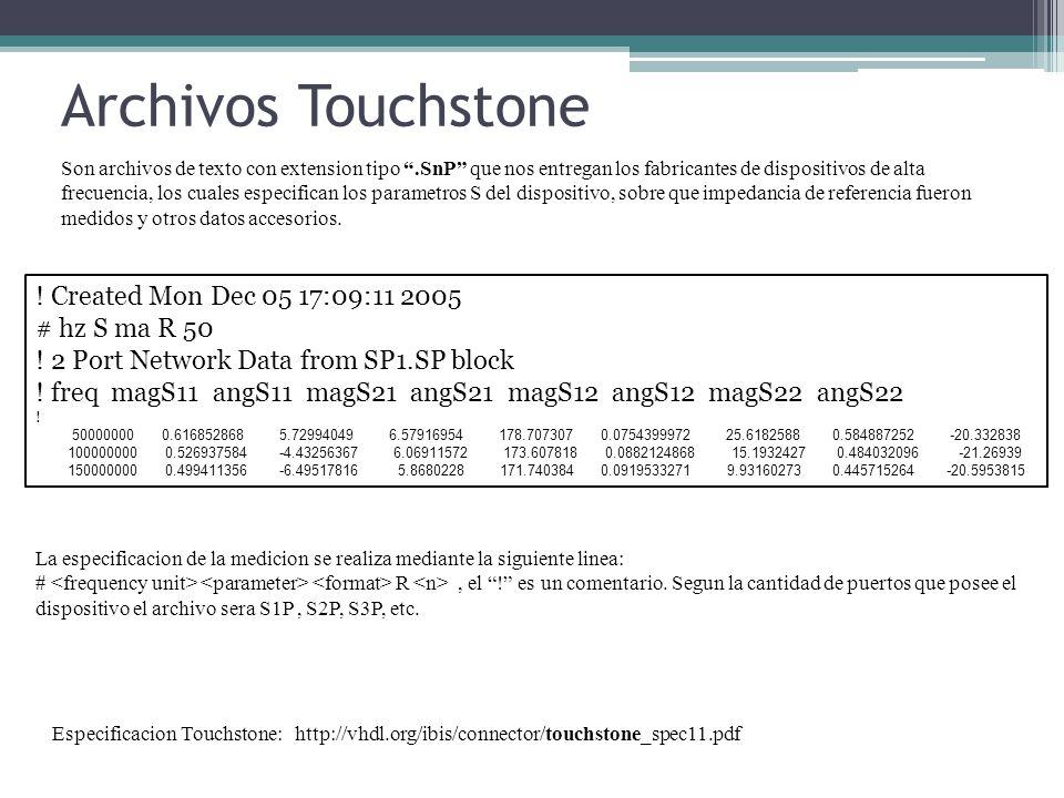 Archivos Touchstone Son archivos de texto con extension tipo.SnP que nos entregan los fabricantes de dispositivos de alta frecuencia, los cuales especifican los parametros S del dispositivo, sobre que impedancia de referencia fueron medidos y otros datos accesorios.