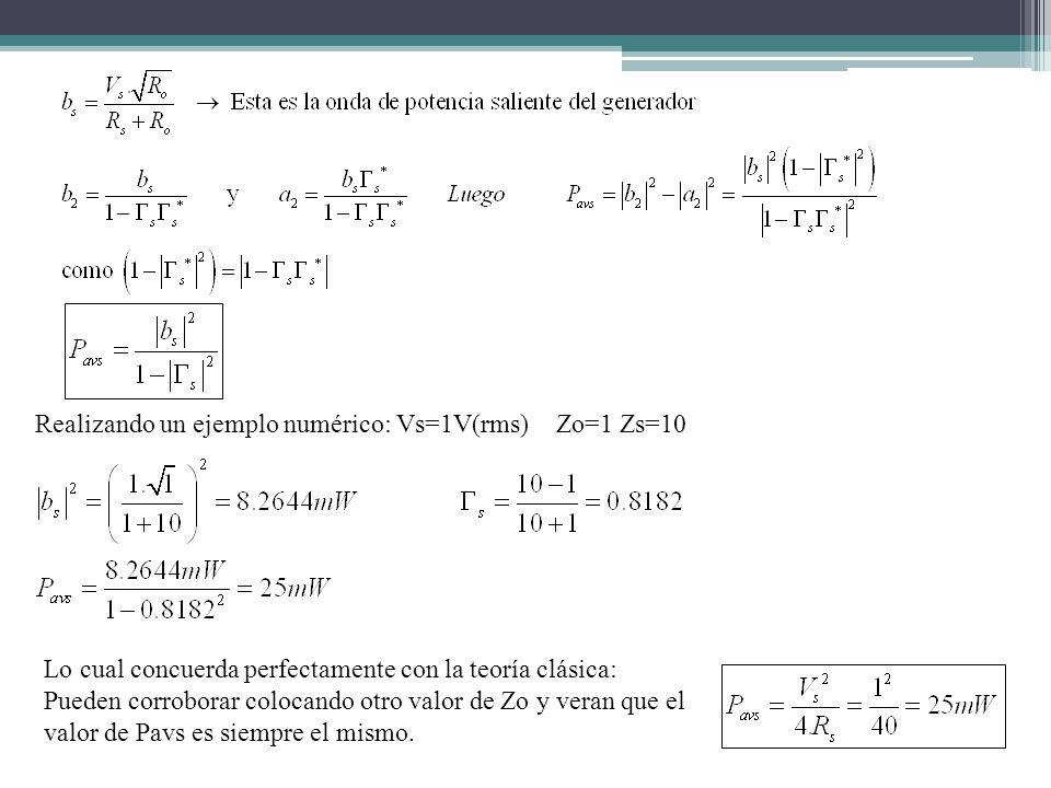Realizando un ejemplo numérico: Vs=1V(rms) Zo=1 Zs=10 Lo cual concuerda perfectamente con la teoría clásica: Pueden corroborar colocando otro valor de Zo y veran que el valor de Pavs es siempre el mismo.