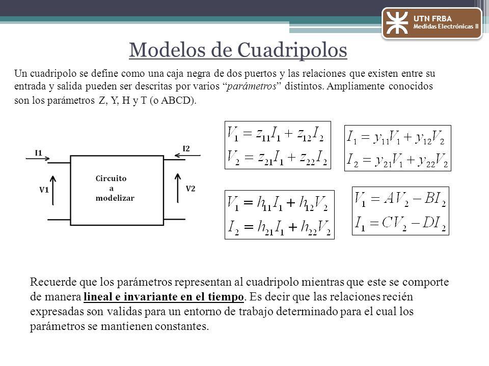 Modelos de Cuadripolos UTN FRBA Medidas Electrónicas II Un cuadripolo se define como una caja negra de dos puertos y las relaciones que existen entre su entrada y salida pueden ser descritas por varios parámetros distintos.