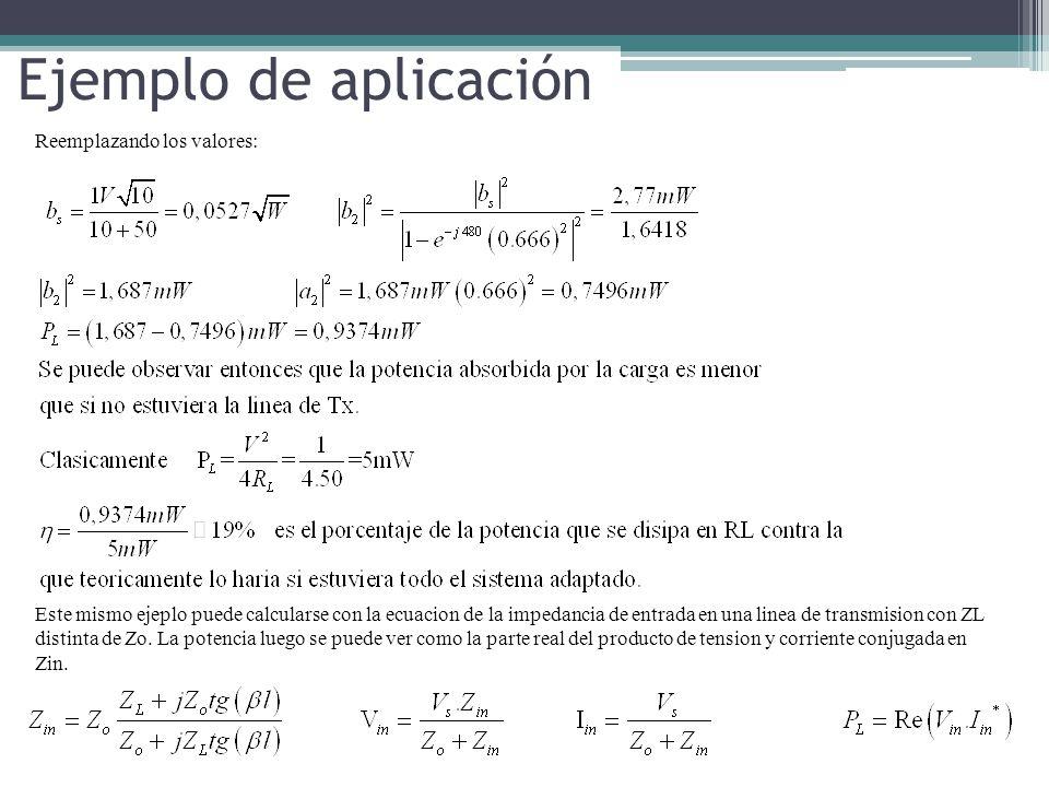 Ejemplo de aplicación Reemplazando los valores: Este mismo ejeplo puede calcularse con la ecuacion de la impedancia de entrada en una linea de transmi