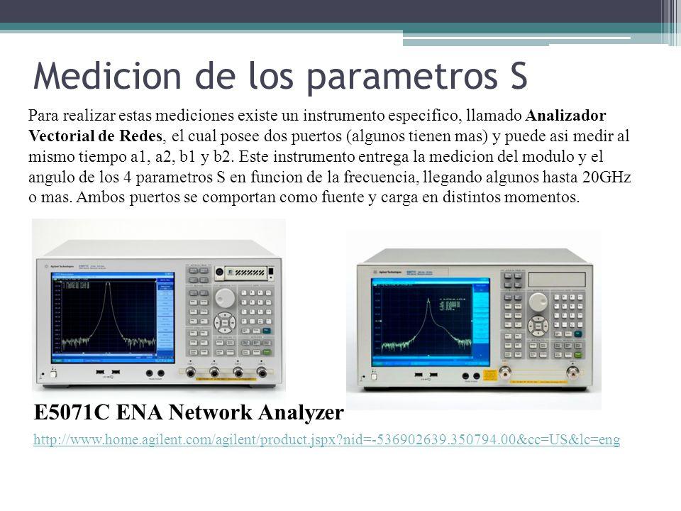 Medicion de los parametros S Para realizar estas mediciones existe un instrumento especifico, llamado Analizador Vectorial de Redes, el cual posee dos puertos (algunos tienen mas) y puede asi medir al mismo tiempo a1, a2, b1 y b2.