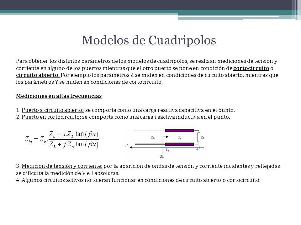 Modelos de Cuadripolos Para obtener los distintos parámetros de los modelos de cuadripolos, se realizan mediciones de tensión y corriente en alguno de los puertos mientras que el otro puerto se pone en condición de cortocircuito o circuito abierto.