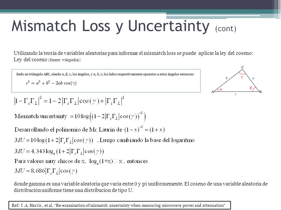 Utilizando la teoría de variables aleatorias para informar el mismatch loss se puede aplicar la ley del coseno: Ley del coseno (fuente: wikipedia) : donde gamma es una variable aleatoria que varia entre 0 y pi uniformemente.