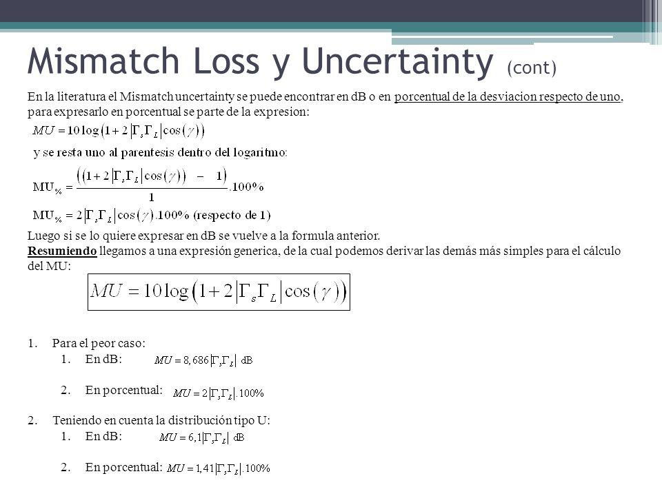En la literatura el Mismatch uncertainty se puede encontrar en dB o en porcentual de la desviacion respecto de uno, para expresarlo en porcentual se parte de la expresion: Luego si se lo quiere expresar en dB se vuelve a la formula anterior.