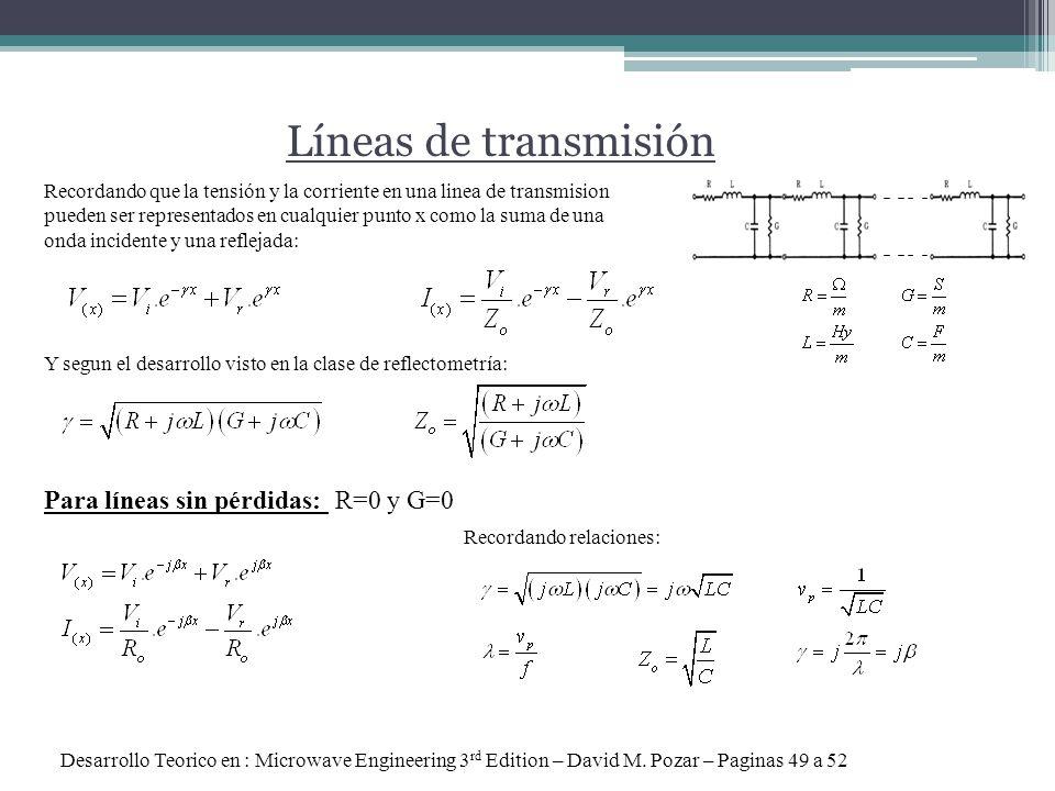 Líneas de transmisión Para líneas sin pérdidas: R=0 y G=0 Desarrollo Teorico en : Microwave Engineering 3 rd Edition – David M. Pozar – Paginas 49 a 5