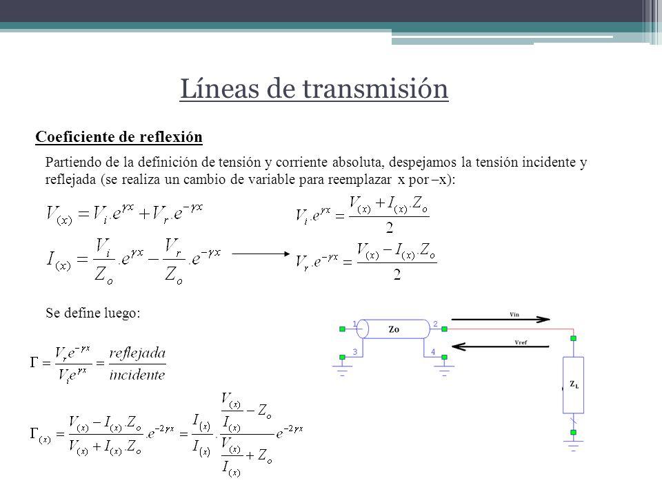 Líneas de transmisión Coeficiente de reflexión Partiendo de la definición de tensión y corriente absoluta, despejamos la tensión incidente y reflejada (se realiza un cambio de variable para reemplazar x por –x): Se define luego: