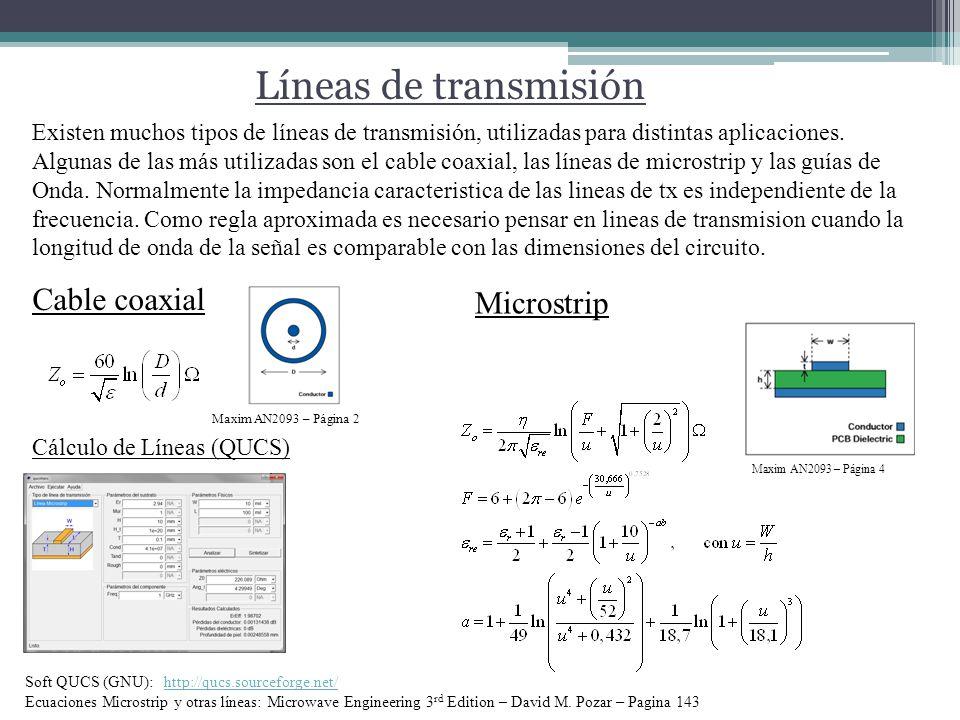 Líneas de transmisión Cable coaxial Microstrip Maxim AN2093 – Página 4 Maxim AN2093 – Página 2 Cálculo de Líneas (QUCS) Soft QUCS (GNU): http://qucs.sourceforge.net/http://qucs.sourceforge.net/ Ecuaciones Microstrip y otras líneas: Microwave Engineering 3 rd Edition – David M.