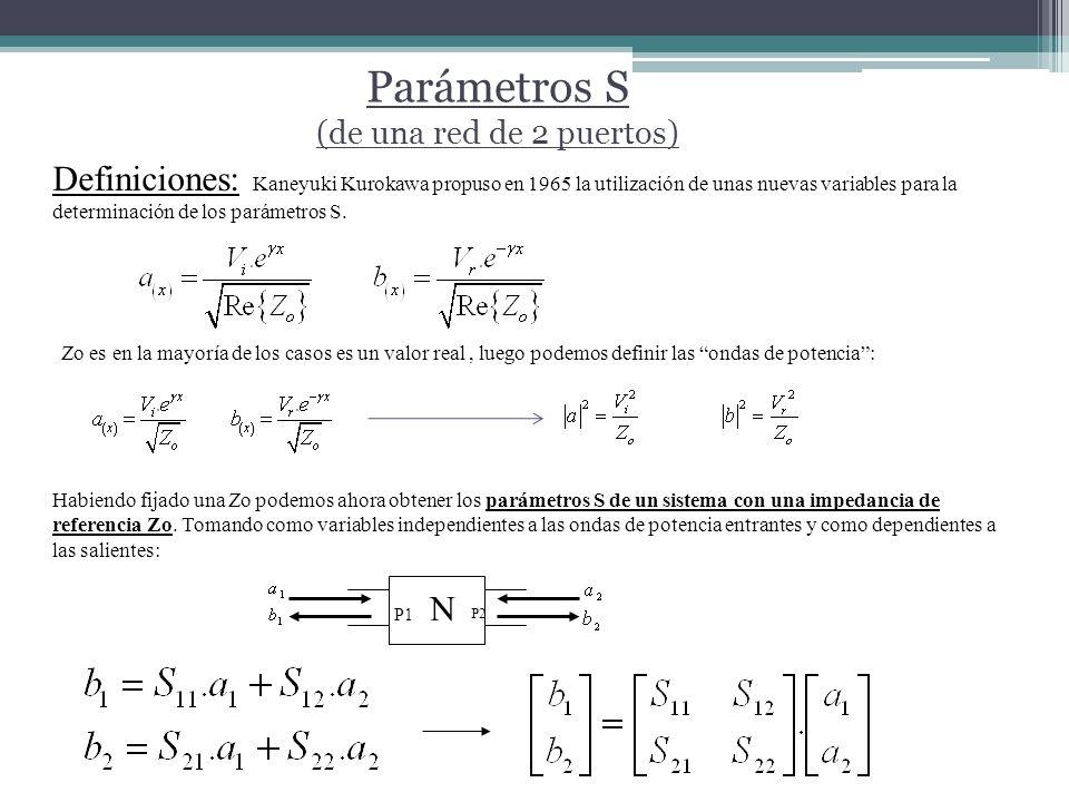 Parámetros S (de una red de 2 puertos) N P1 P2 Definiciones: Kaneyuki Kurokawa propuso en 1965 la utilización de unas nuevas variables para la determinación de los parámetros S.