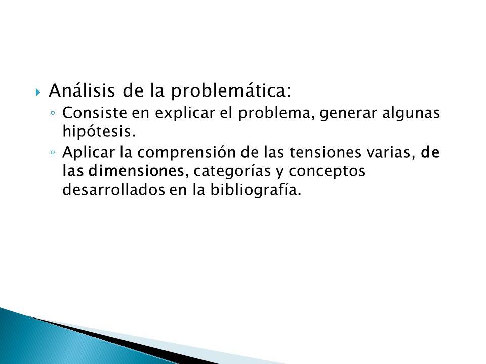 Análisis de la problemática: Consiste en explicar el problema, generar algunas hipótesis. Aplicar la comprensión de las tensiones varias, de las dimen