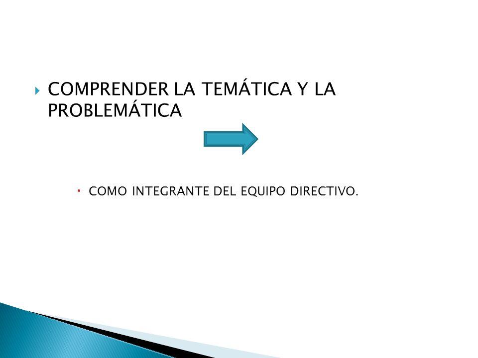 COMPRENDER LA TEMÁTICA Y LA PROBLEMÁTICA COMO INTEGRANTE DEL EQUIPO DIRECTIVO.