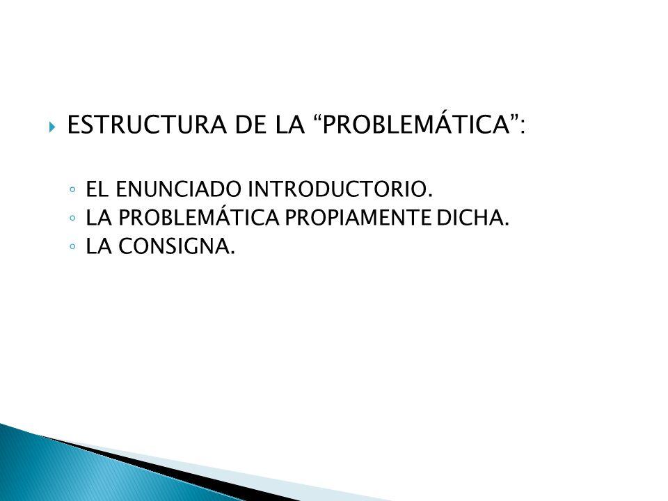 ESTRUCTURA DE LA PROBLEMÁTICA: EL ENUNCIADO INTRODUCTORIO. LA PROBLEMÁTICA PROPIAMENTE DICHA. LA CONSIGNA.
