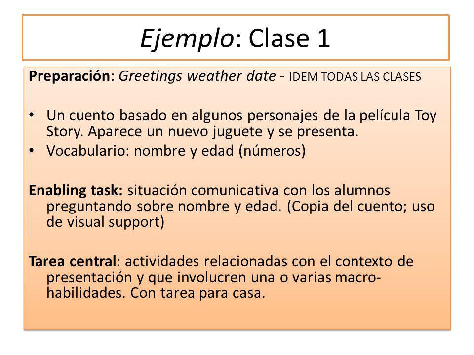 Ejemplo: Clase 1 Preparación: Greetings weather date - IDEM TODAS LAS CLASES Un cuento basado en algunos personajes de la película Toy Story.